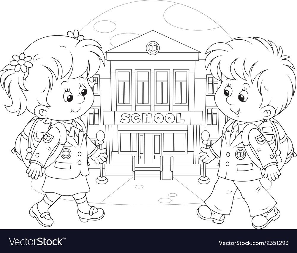 Schoolchildren going to school vector | Price: 1 Credit (USD $1)