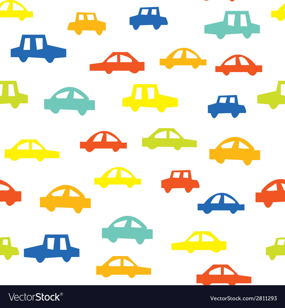Seamless pattern with cars funny design vector | Price: 1 Credit (USD $1)