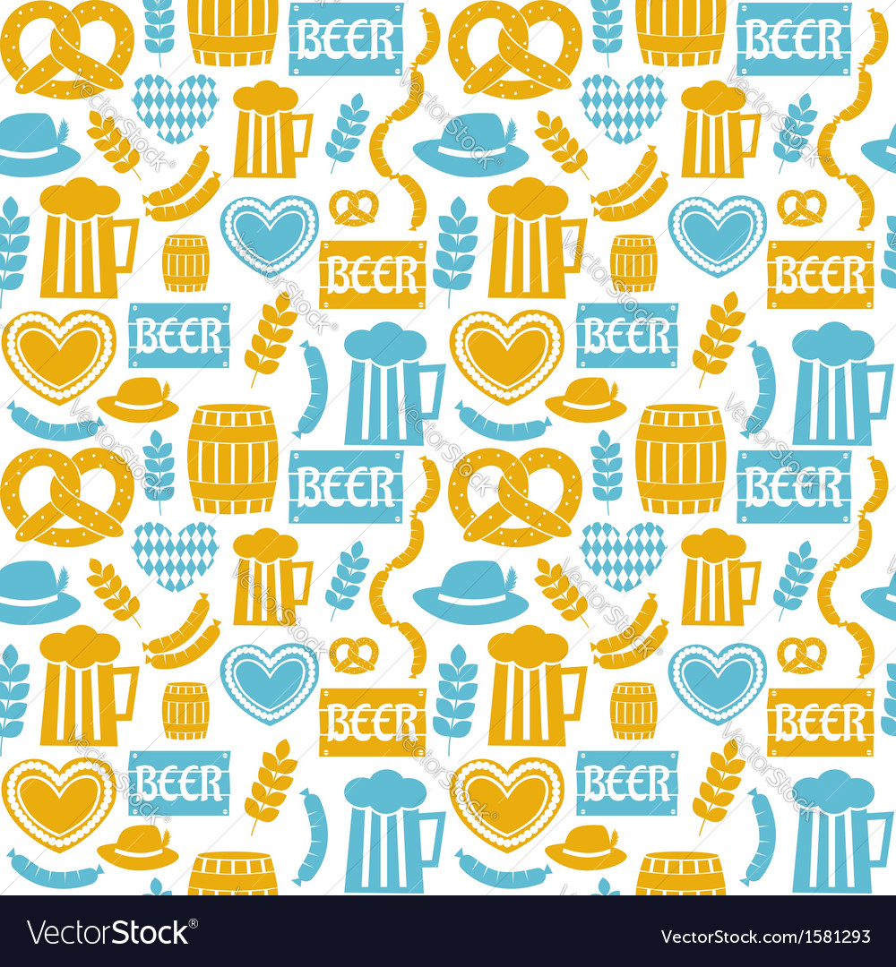 Seamless repeat oktoberfest party pattern vector | Price: 1 Credit (USD $1)