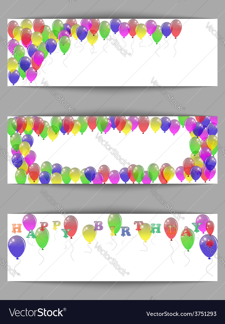 Set of greeting horizontal banners happy birthday vector | Price: 1 Credit (USD $1)