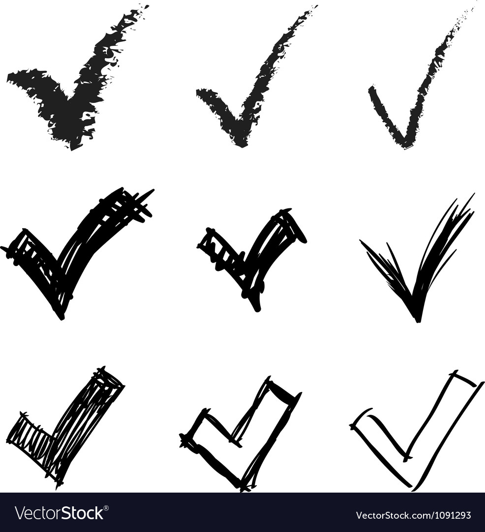 Set of hand drawn v signs vector | Price: 1 Credit (USD $1)
