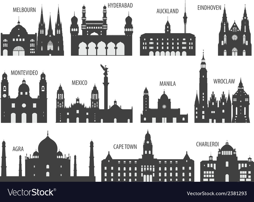 Silhouettes of cities vector | Price: 1 Credit (USD $1)