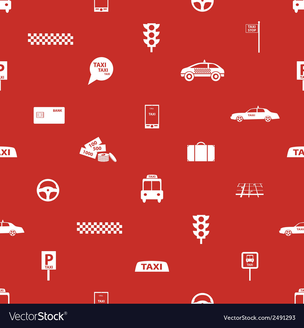 Taxi icons red seamless pattern eps10 vector | Price: 1 Credit (USD $1)