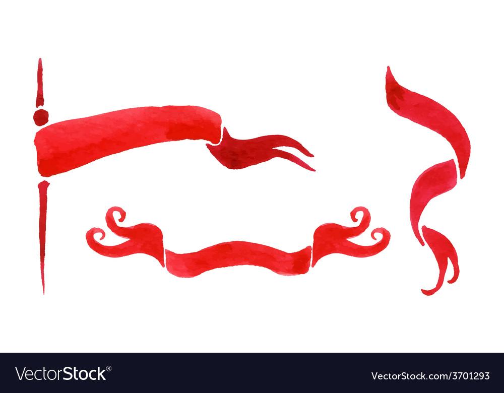 Watercolor ribbon set vector   Price: 1 Credit (USD $1)