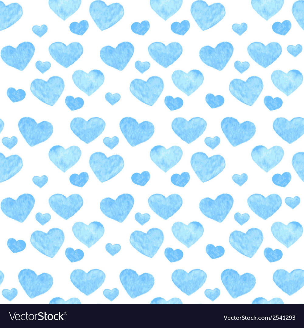 Watercolor romantic seamless pattern with hearts vector | Price: 1 Credit (USD $1)