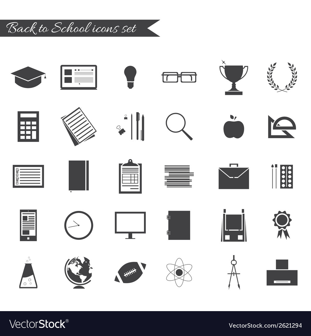 Back to school icons black and white vector | Price: 1 Credit (USD $1)