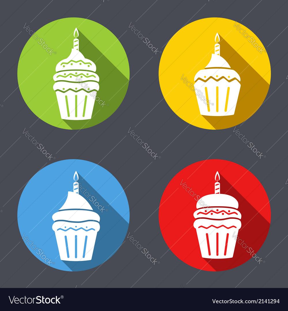 Birthday cupcakes icons vector | Price: 1 Credit (USD $1)