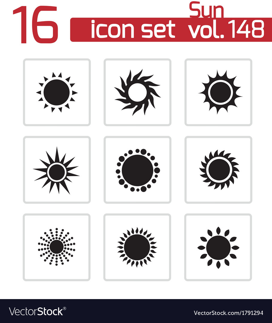 Black sun icons set vector | Price: 1 Credit (USD $1)