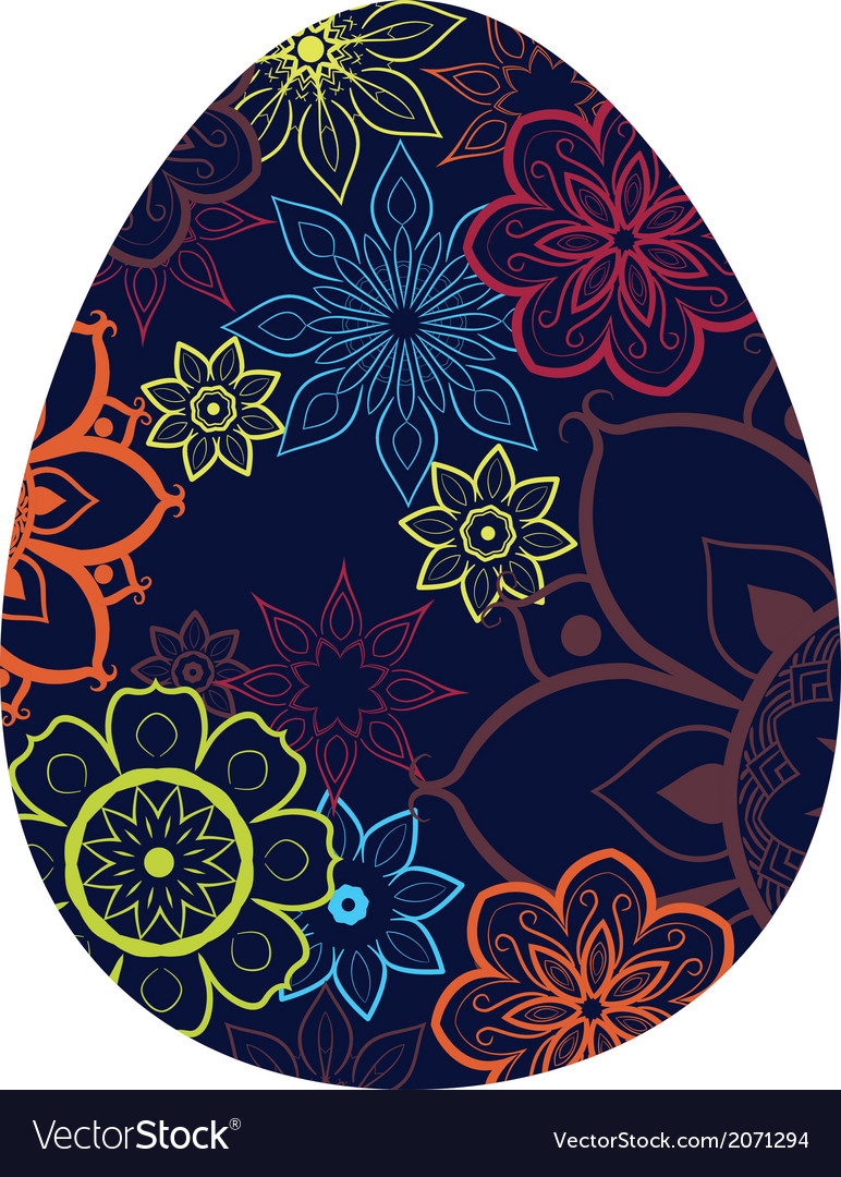 Blue egg with flower pattern vector | Price: 1 Credit (USD $1)