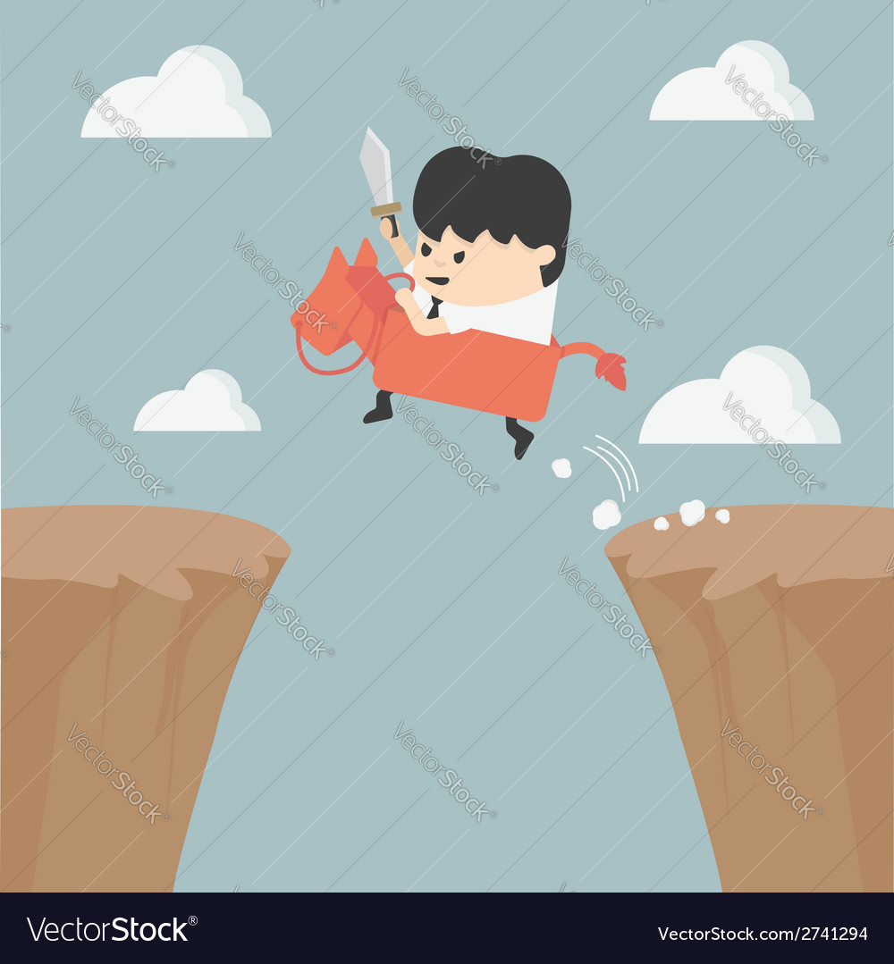 Businessman riding over obstacles vector | Price: 1 Credit (USD $1)