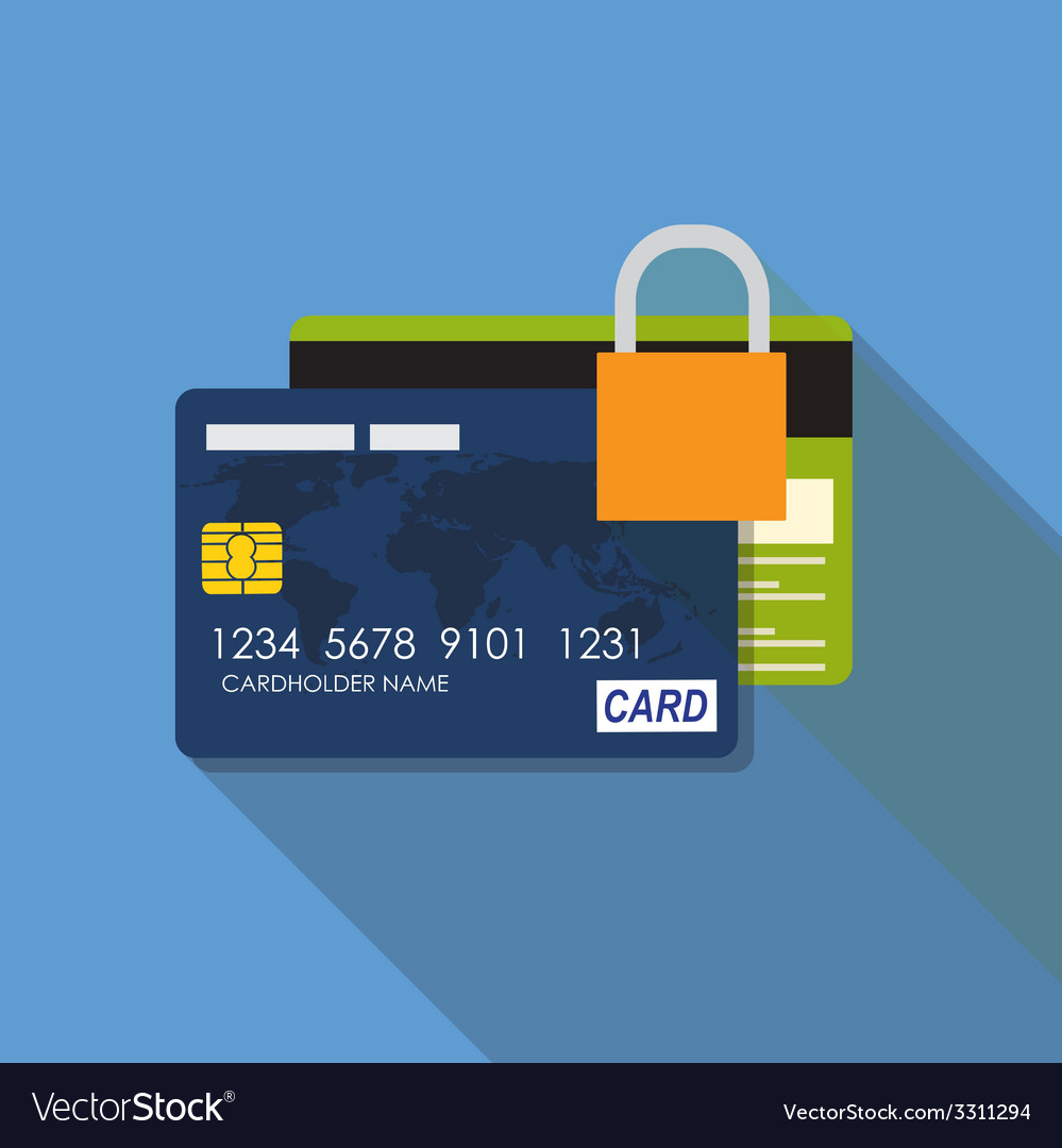 Credit card icon flat concept vector | Price: 1 Credit (USD $1)