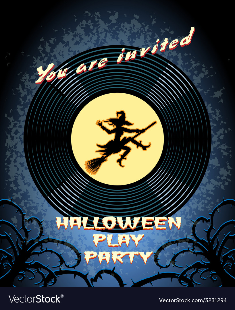 Halloween play party invitation with witch graphic vector | Price: 1 Credit (USD $1)