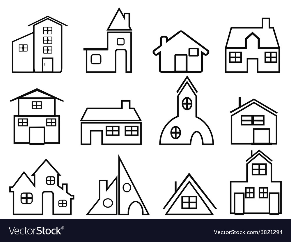 House outline icons vector | Price: 1 Credit (USD $1)