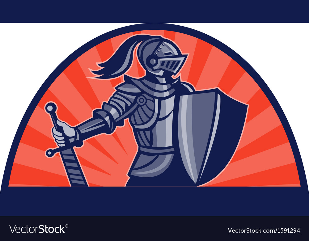 Knight with sword and shield facing side vector | Price: 1 Credit (USD $1)