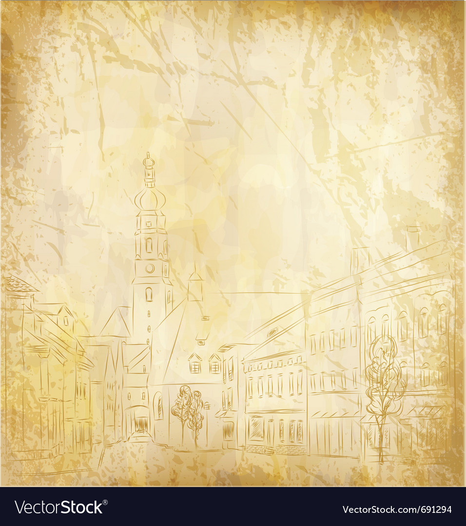 Old paper with a painted town vector | Price: 1 Credit (USD $1)