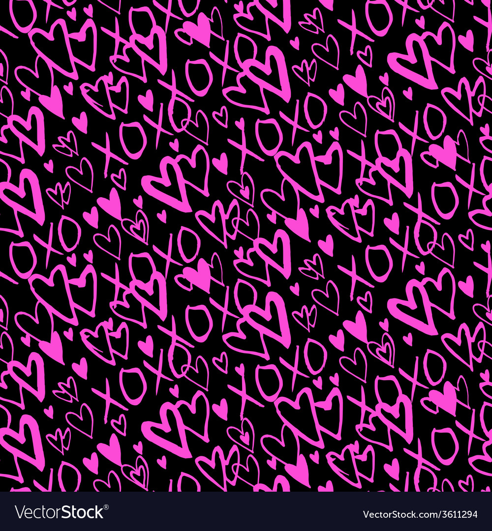 Pattern with hand painted hearts vector | Price: 1 Credit (USD $1)