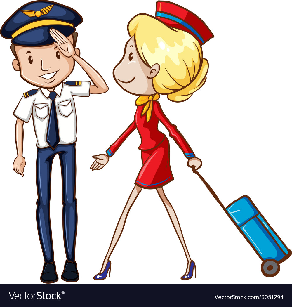 Pilot and flight attendant vector | Price: 1 Credit (USD $1)