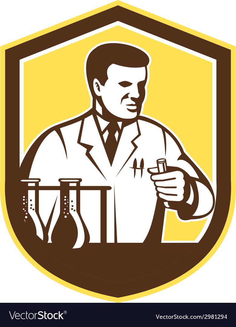 Scientist lab researcher chemist shield retro vector | Price: 1 Credit (USD $1)