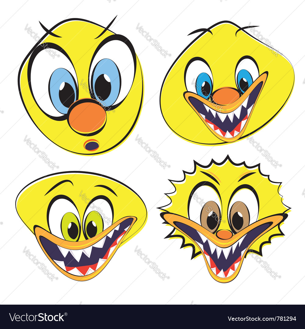 Set of funny and ugly smileys vector | Price: 1 Credit (USD $1)