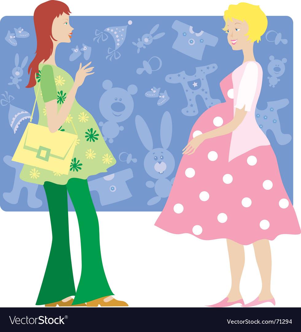 Two pregnant ladies vector | Price: 1 Credit (USD $1)