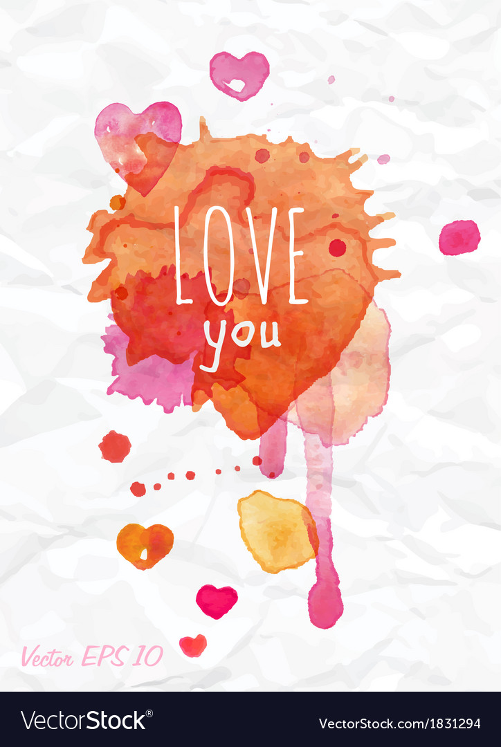 Watercolor valentines day card lettering vector | Price: 1 Credit (USD $1)
