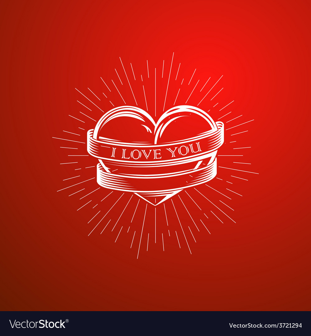 With engraving heart ribbon vector | Price: 1 Credit (USD $1)