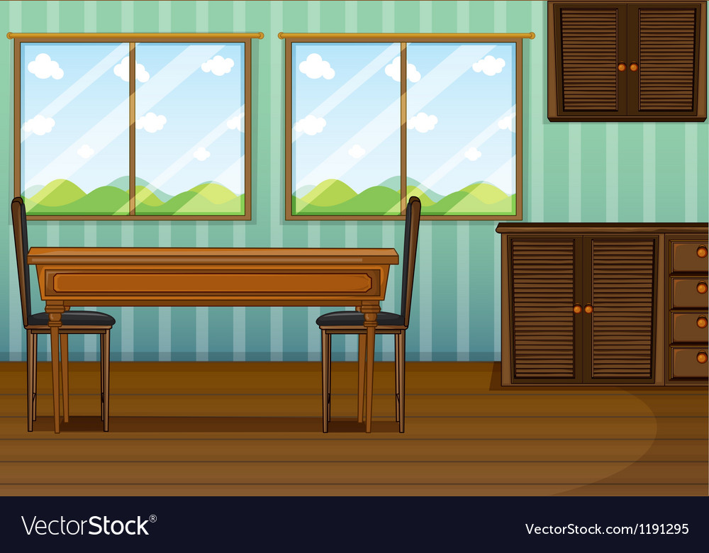 A clean dining room with wooden furnitures vector | Price: 1 Credit (USD $1)