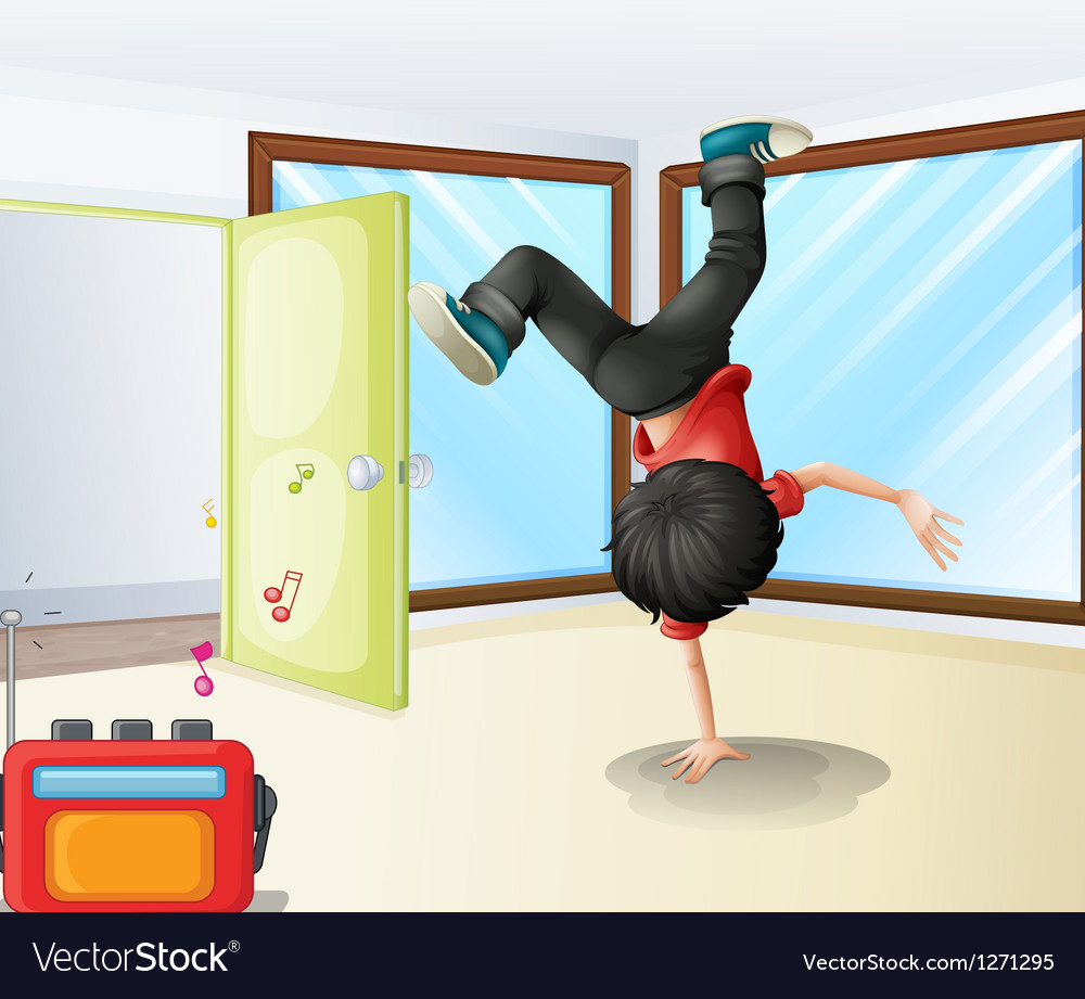 A young dancer rehearsing inside a studio vector | Price: 1 Credit (USD $1)