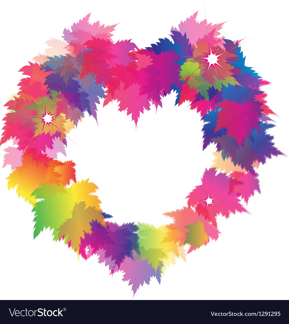 Beautiful heart shape from colorful maple leaves vector | Price: 1 Credit (USD $1)