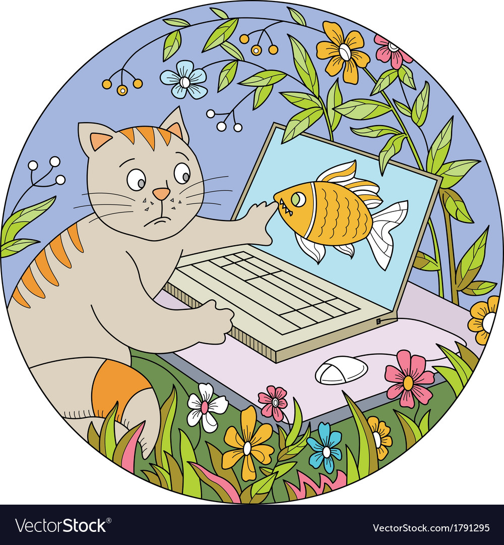 Cat and comp vector | Price: 1 Credit (USD $1)
