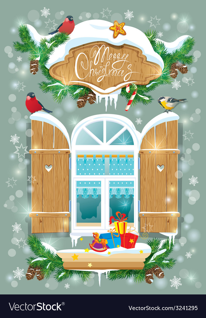 Christmas and new year card with wooden frosty win vector | Price: 3 Credit (USD $3)