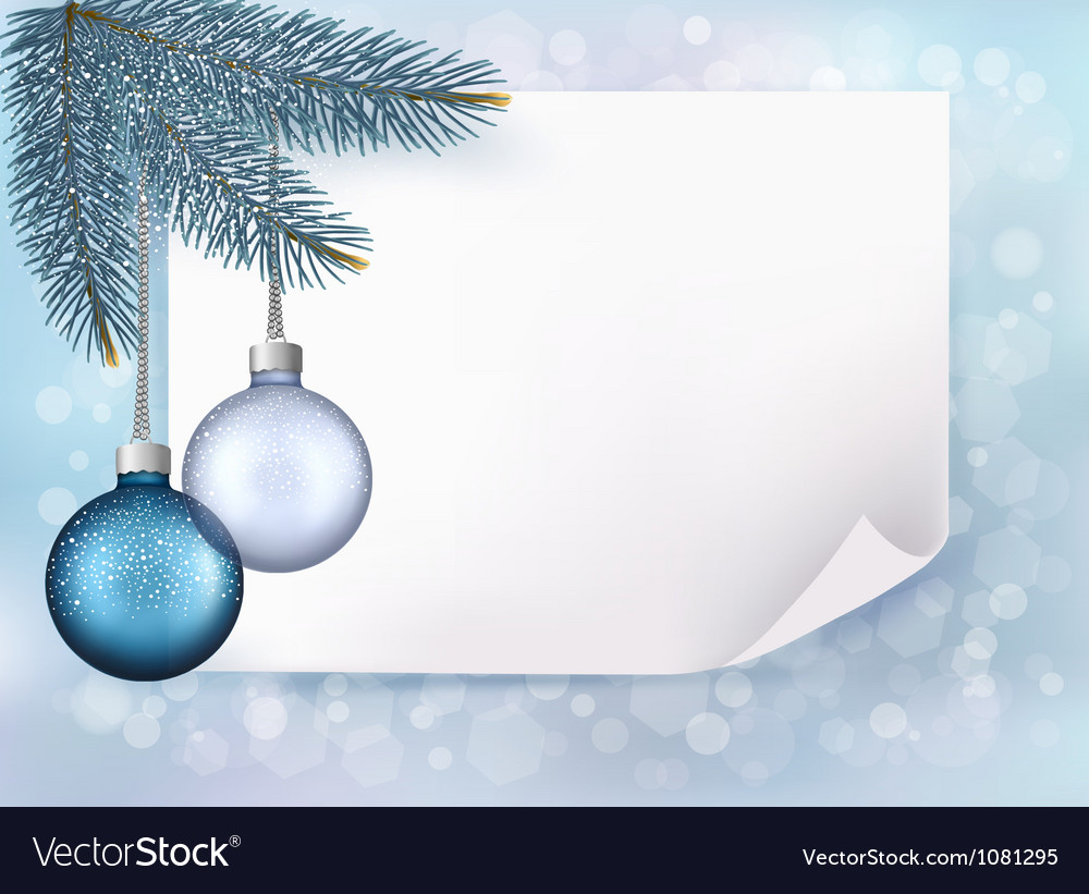 Christmas background with balls and fir branches vector | Price: 1 Credit (USD $1)