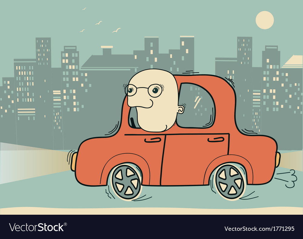 Driver man driving by car in the evening city vector | Price: 1 Credit (USD $1)