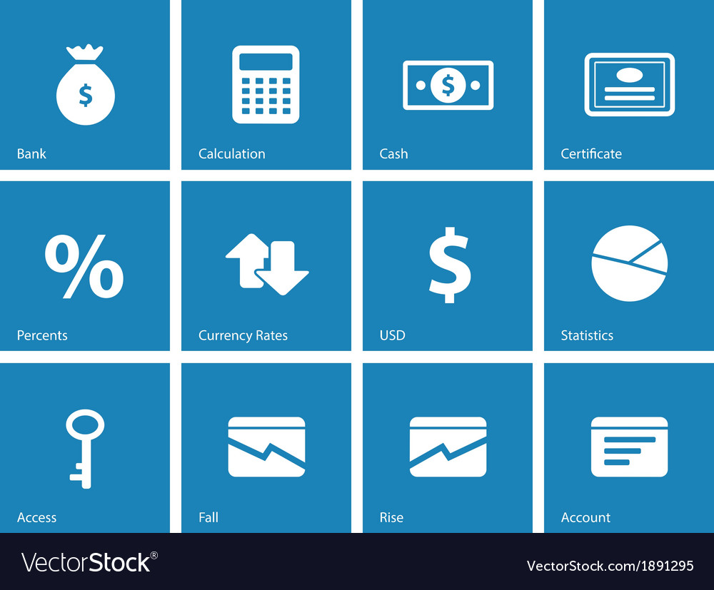 Economy icons on blue background vector | Price: 1 Credit (USD $1)