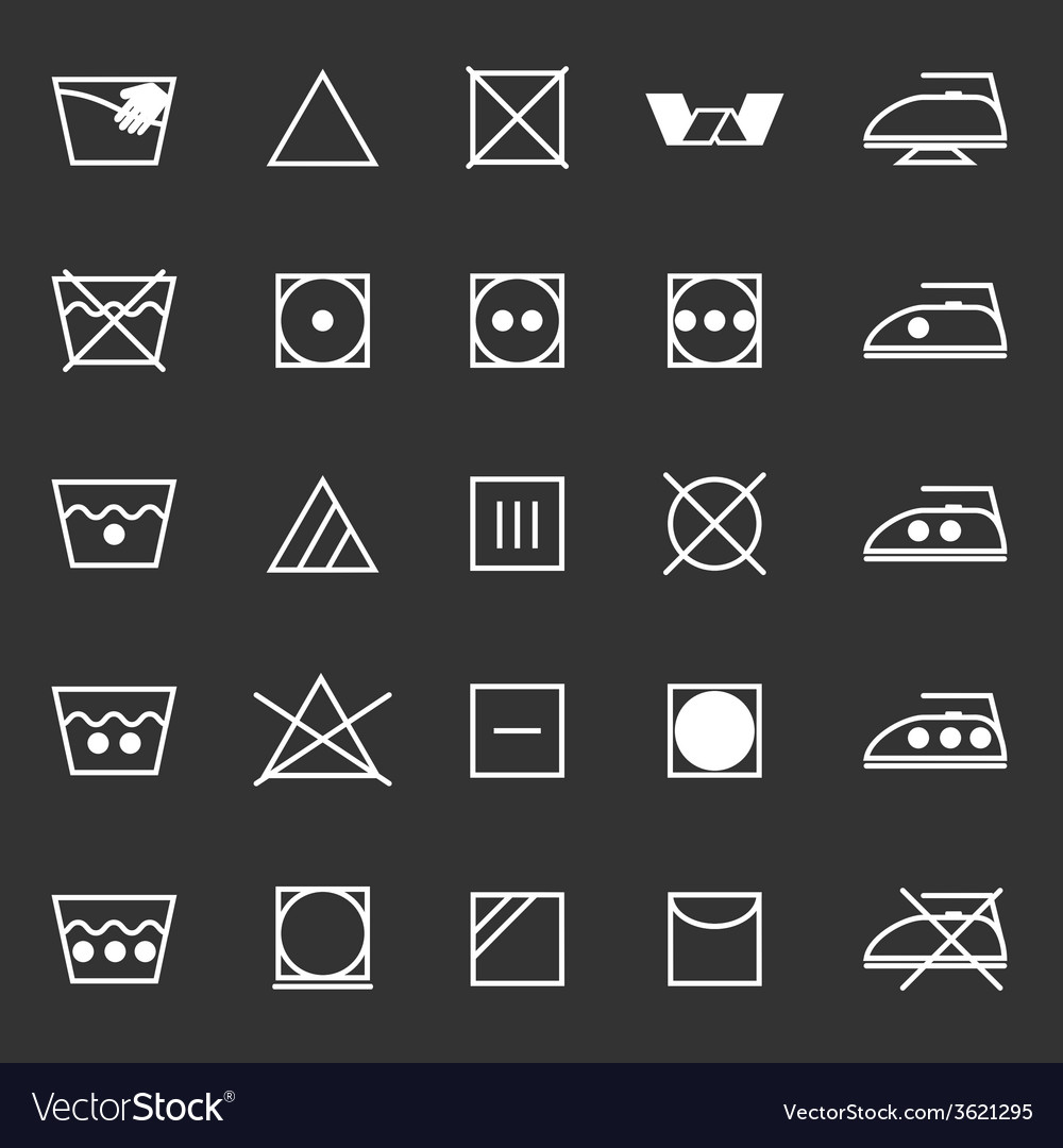Fabric care sign and symbol icons on gray vector | Price: 1 Credit (USD $1)