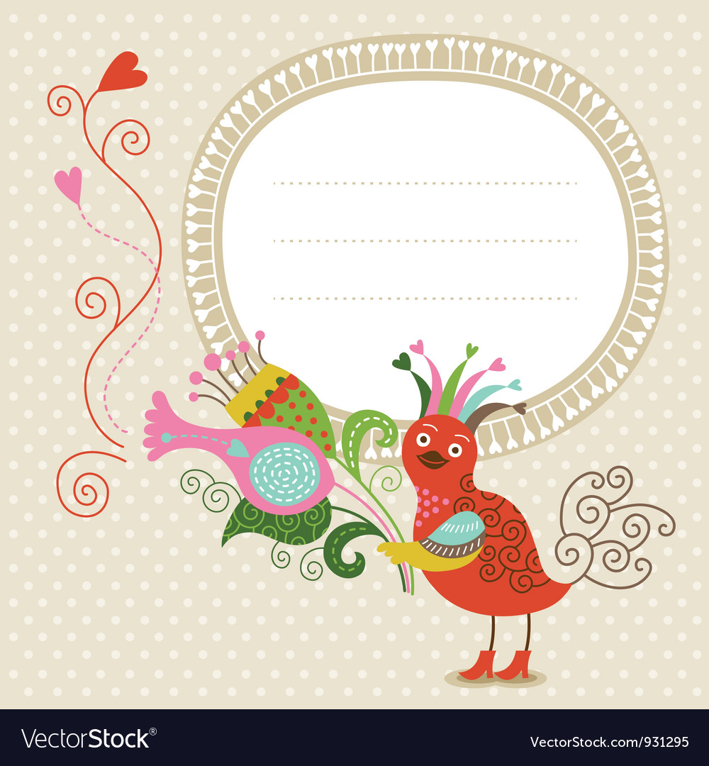 Greeting card cute bird with bouquet vector | Price: 1 Credit (USD $1)