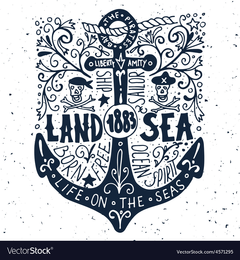 Hand drawn vintage label with an anchor on grunge vector | Price: 1 Credit (USD $1)