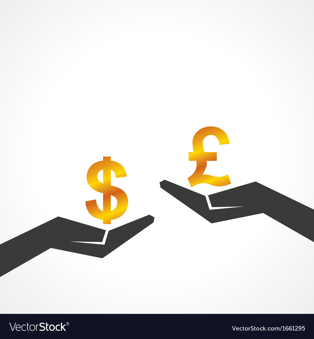 Hand hold dollar and pound symbol to compare vector | Price: 1 Credit (USD $1)