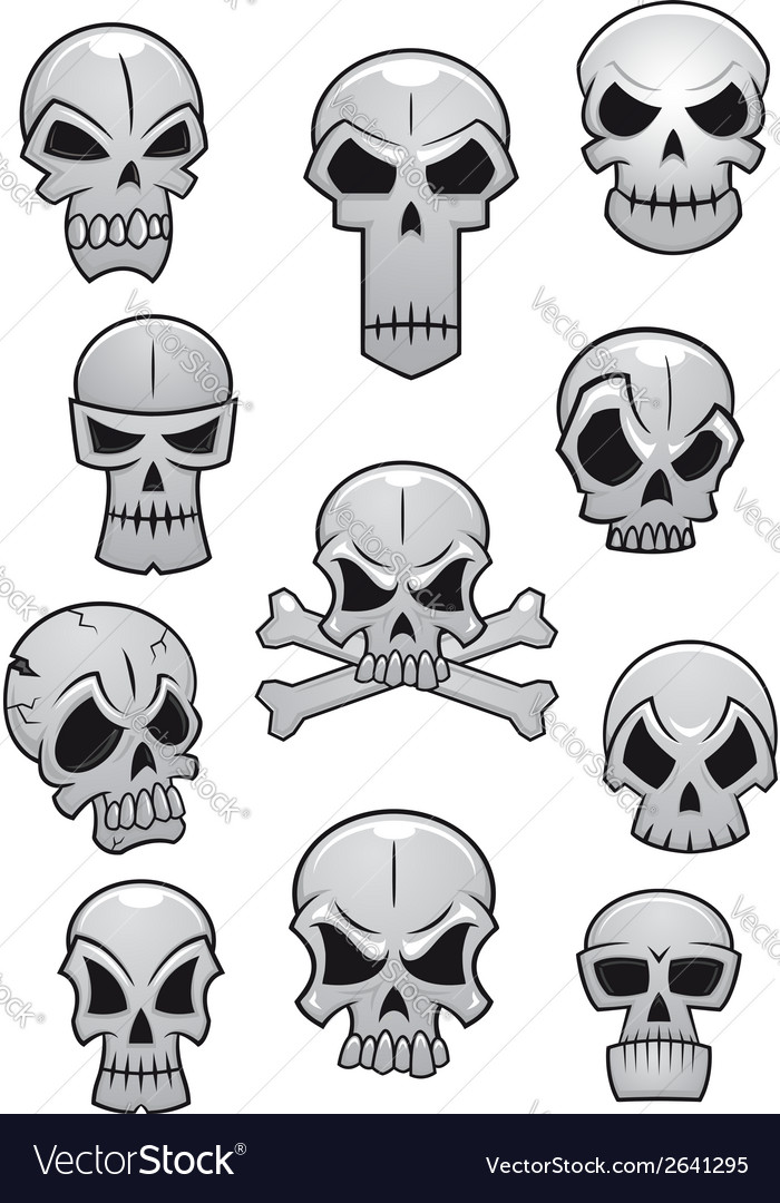 Human halloween skulls set vector | Price: 1 Credit (USD $1)