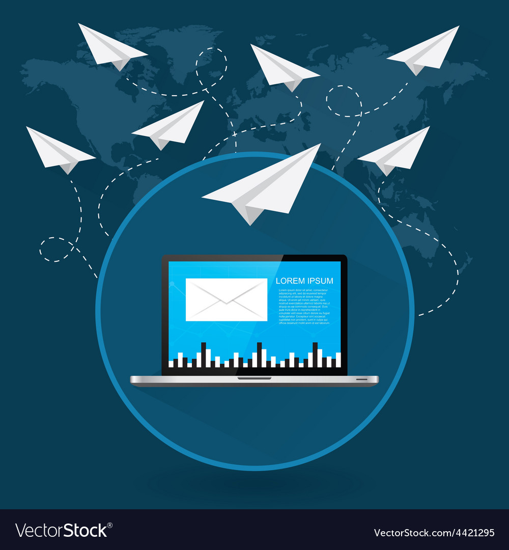Mails flying around the world as paper airplanes vector | Price: 1 Credit (USD $1)