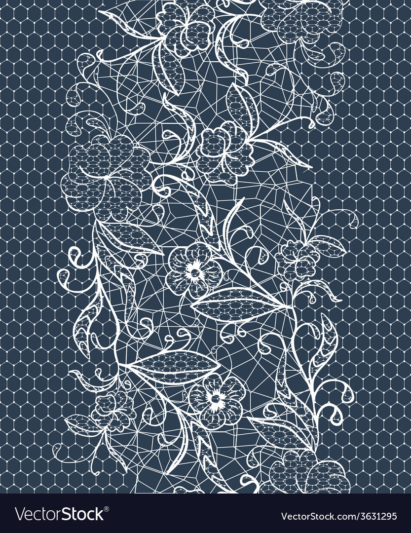 Seamless lace white ribbon on a dark background vector | Price: 1 Credit (USD $1)