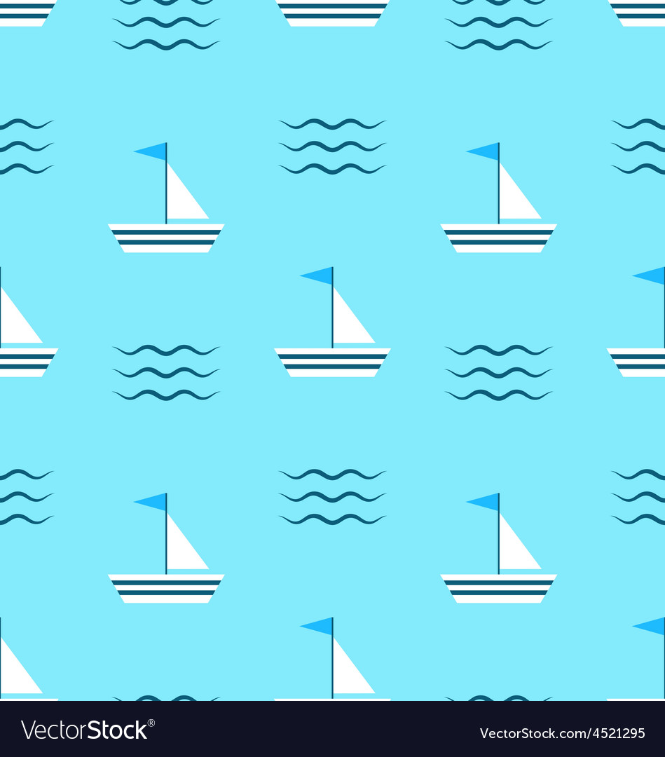 Seamless pattern with sail boats on blue vector | Price: 1 Credit (USD $1)