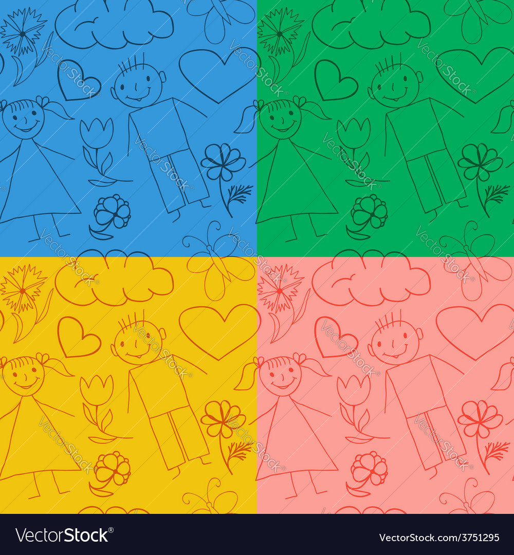 Set of seamless baby patterns vector | Price: 1 Credit (USD $1)