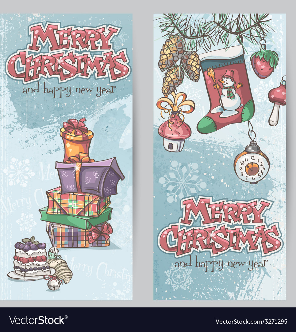 Set of vertical christmas cards with flashlights vector | Price: 1 Credit (USD $1)