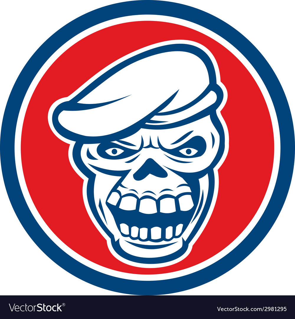 Skull beret circle retro vector | Price: 1 Credit (USD $1)