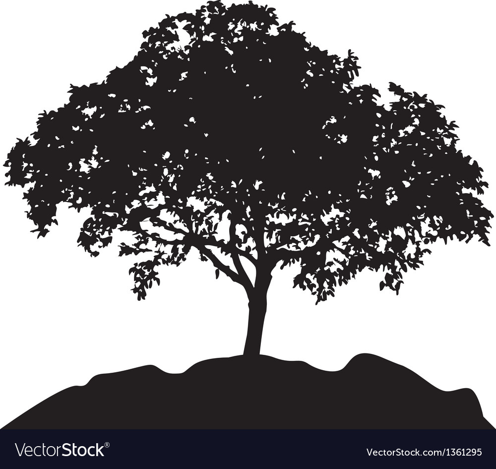 Tree at hill silhouette vector | Price: 1 Credit (USD $1)