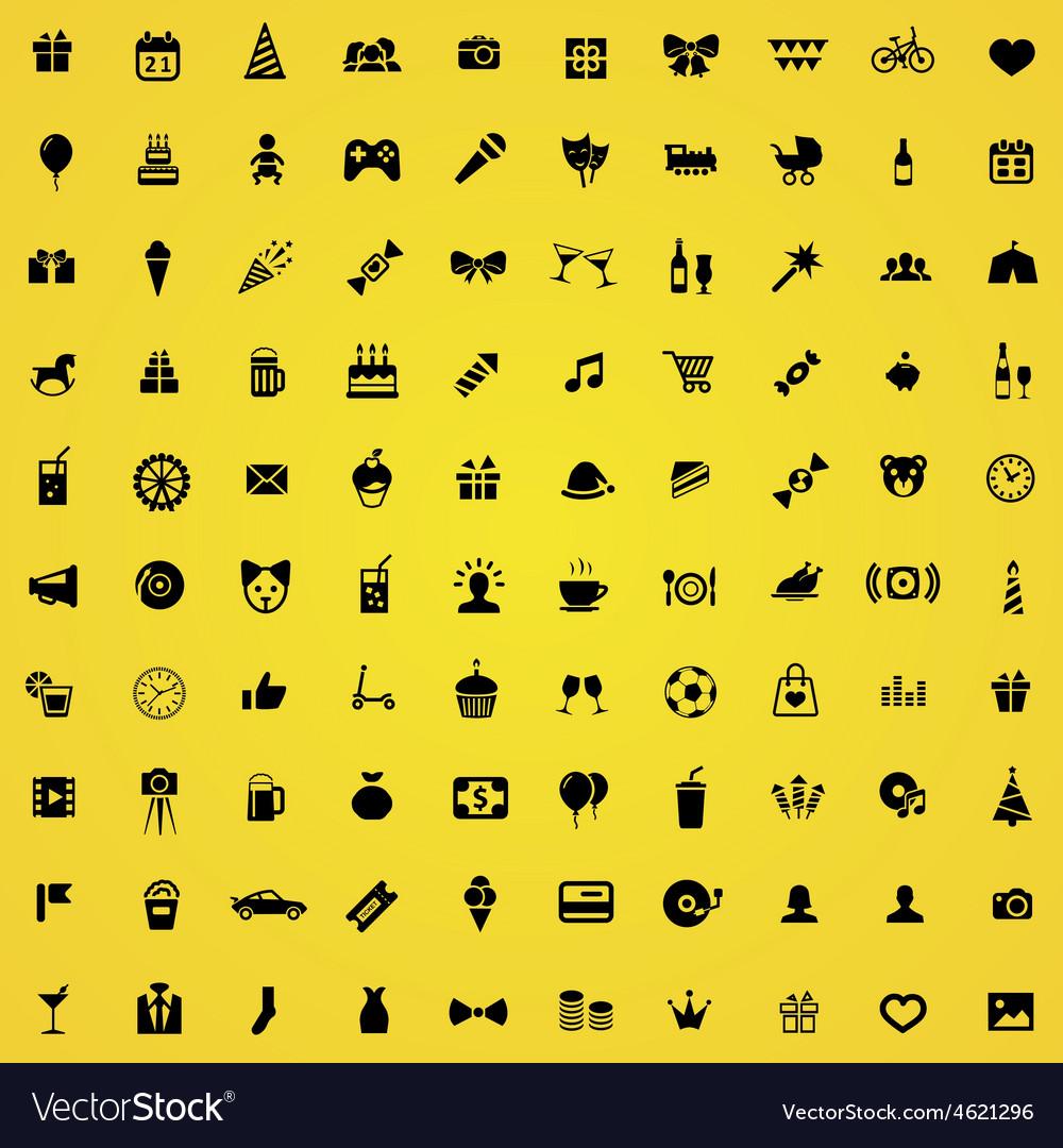 100 birthday icons vector | Price: 1 Credit (USD $1)