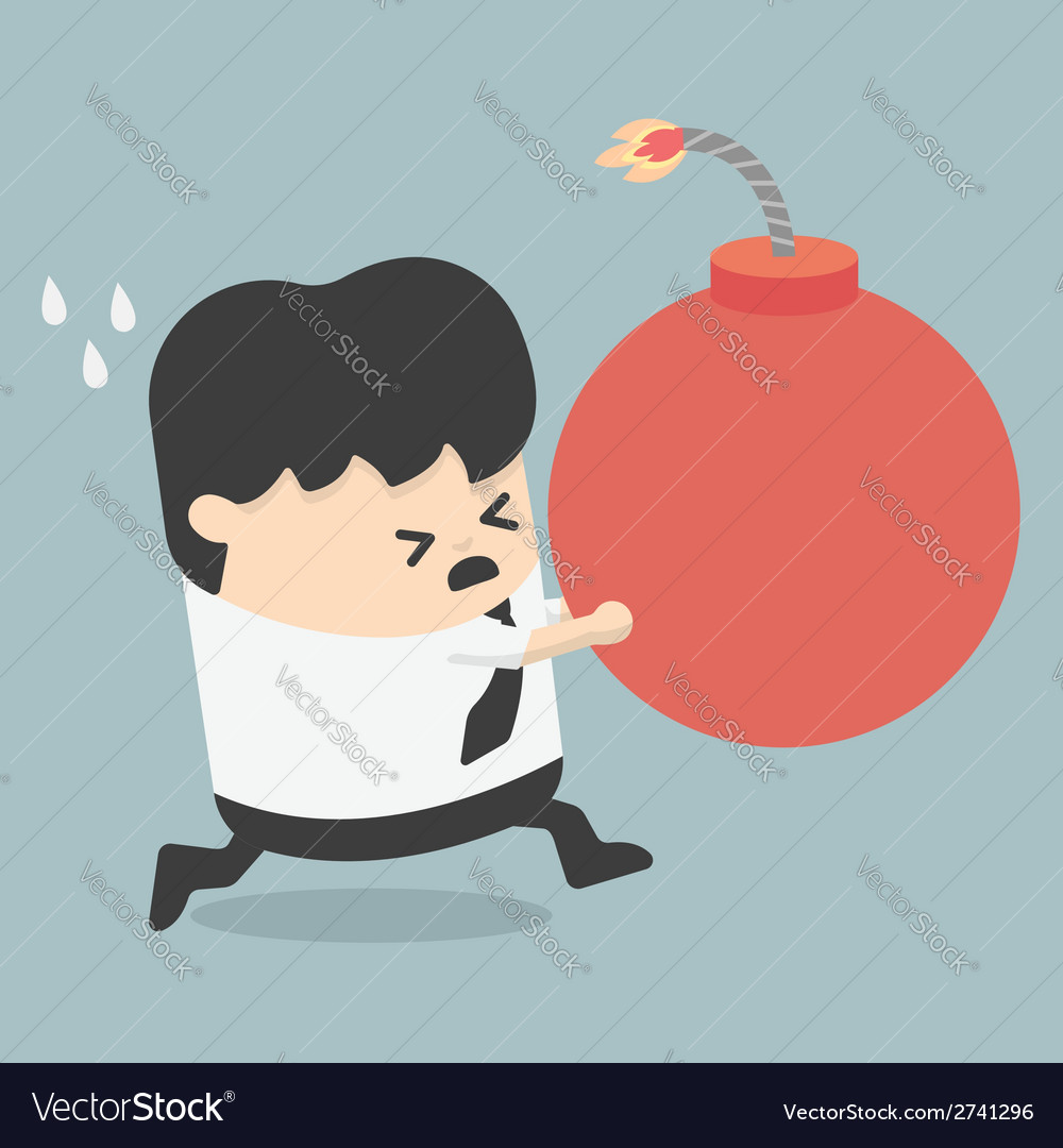 A business man holding a large bomb vector | Price: 1 Credit (USD $1)