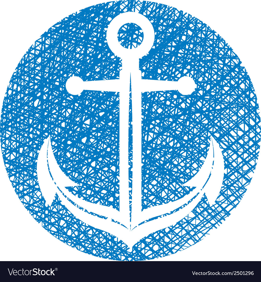 Anchor icon with hand drawn lines texture vector | Price: 1 Credit (USD $1)