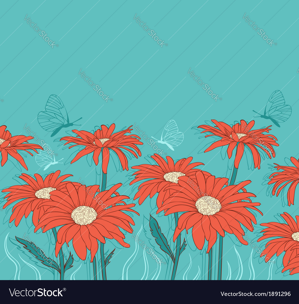 Background with red gerbera and butterflies vector | Price: 1 Credit (USD $1)